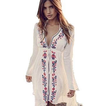 ASSKDAN Damen Boho Handstickerei Bikini Cover Up StrandKleid Sommerkleid One Size (One Size, Weiß) -