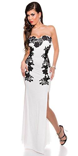 Atemberaubendes KouCla Abendkleid Long-Dress mit Stickerei - Elegantes langes Bandeau Ballkleid Gr. 34 - 40 Schwarz Weiss Rot (K18449) (8 (deutsche Gr. 34), Weiss) - 1