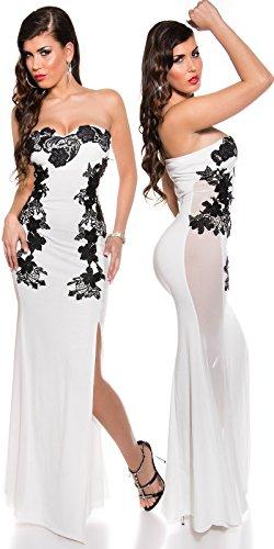 Atemberaubendes KouCla Abendkleid Long-Dress mit Stickerei - Elegantes langes Bandeau Ballkleid Gr. 34 - 40 Schwarz Weiss Rot (K18449) (8 (deutsche Gr. 34), Weiss) - 2