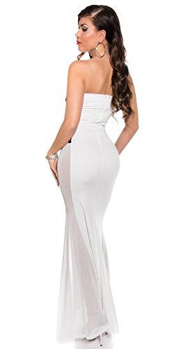 Atemberaubendes KouCla Abendkleid Long-Dress mit Stickerei - Elegantes langes Bandeau Ballkleid Gr. 34 - 40 Schwarz Weiss Rot (K18449) (8 (deutsche Gr. 34), Weiss) - 3