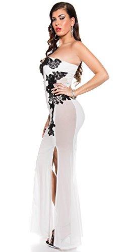 Atemberaubendes KouCla Abendkleid Long-Dress mit Stickerei - Elegantes langes Bandeau Ballkleid Gr. 34 - 40 Schwarz Weiss Rot (K18449) (8 (deutsche Gr. 34), Weiss) - 4