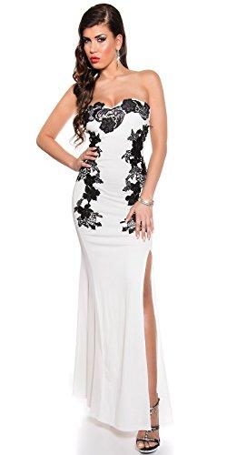 Atemberaubendes KouCla Abendkleid Long-Dress mit Stickerei - Elegantes langes Bandeau Ballkleid Gr. 34 - 40 Schwarz Weiss Rot (K18449) (8 (deutsche Gr. 34), Weiss) - 5