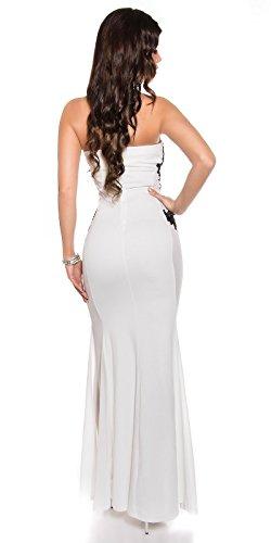 Atemberaubendes KouCla Abendkleid Long-Dress mit Stickerei - Elegantes langes Bandeau Ballkleid Gr. 34 - 40 Schwarz Weiss Rot (K18449) (8 (deutsche Gr. 34), Weiss) - 6