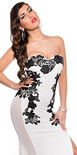 Atemberaubendes KouCla Abendkleid Long-Dress mit Stickerei - Elegantes langes Bandeau Ballkleid Gr. 34 - 40 Schwarz Weiss Rot (K18449) (8 (deutsche Gr. 34), Weiss) - 7