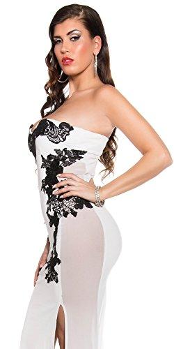 Atemberaubendes KouCla Abendkleid Long-Dress mit Stickerei - Elegantes langes Bandeau Ballkleid Gr. 34 - 40 Schwarz Weiss Rot (K18449) (8 (deutsche Gr. 34), Weiss) - 8