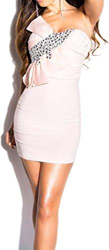 Atemberaubendes KouCla Minikleid mit Schleife und Steinen - Bandeau Kleid in 6 Farben - Abendkleid mit Steinbesatz (Einheitsgröße) (5 Altrosa) - 1