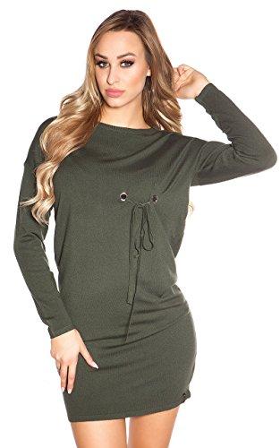 Ausgefallenes Feinstrick-Kleid mit Zier-Ösen One Size (Einheitsgröße) - 2