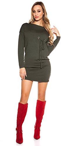 Ausgefallenes Feinstrick-Kleid mit Zier-Ösen One Size (Einheitsgröße) - 3