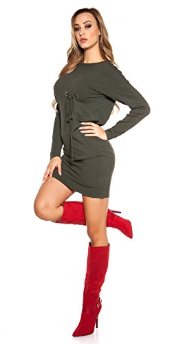 Ausgefallenes Feinstrick-Kleid mit Zier-Ösen One Size (Einheitsgröße) - 5
