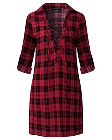 Auxo Damen V-Ausschnitt Karierte Kleider Langarm Mini Kurz Kleider Oversize Tops Hemd Rot & Schwarz EU 40/Etikettgröße L - 2