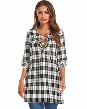 Auxo Damen V-Ausschnitt Karierte Kleider Langarm Mini Kurz Kleider Oversize Tops Hemd Weiß & Schwarz EU 36/Etikettgröße S - 3