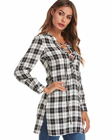 Auxo Damen V-Ausschnitt Karierte Kleider Langarm Mini Kurz Kleider Oversize Tops Hemd Weiß & Schwarz EU 36/Etikettgröße S - 4