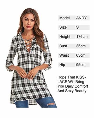 Auxo Damen V-Ausschnitt Karierte Kleider Langarm Mini Kurz Kleider Oversize Tops Hemd Weiß & Schwarz EU 36/Etikettgröße S - 5