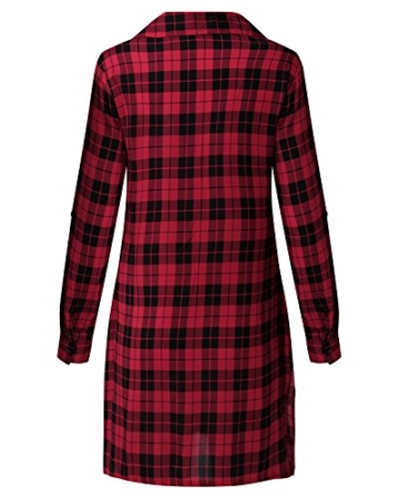 Auxo Damen V-Ausschnitt Karierte Kleider Langarm Mini Kurz Kleider Oversize Tops Hemd Rot & Schwarz EU 40/Etikettgröße L - 3