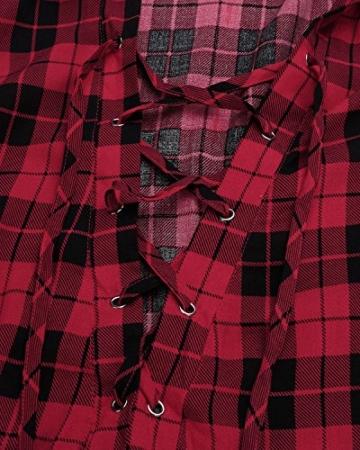 Auxo Damen V-Ausschnitt Karierte Kleider Langarm Mini Kurz Kleider Oversize Tops Hemd Rot & Schwarz EU 40/Etikettgröße L - 4
