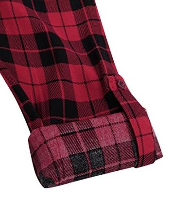 Auxo Damen V-Ausschnitt Karierte Kleider Langarm Mini Kurz Kleider Oversize Tops Hemd Rot & Schwarz EU 40/Etikettgröße L - 5