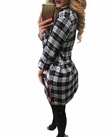 Auxo Damen V-Ausschnitt Karierte Kleider Langarm Mini Kurz Kleider Oversize Tops Hemd Weiß & Schwarz EU 36/Etikettgröße S - 2