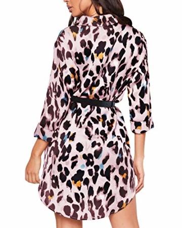 Auxo Damen V-Ausschnitt Leopard Kleider 1/2 Arm Mini Kurz Kleider Oversize Tops Hemd Rosa Small - 2