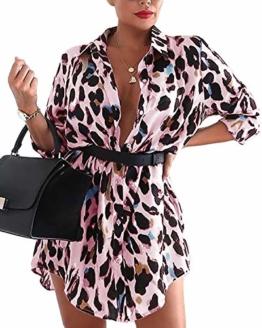 Auxo Damen V-Ausschnitt Leopard Kleider 1/2 Arm Mini Kurz Kleider Oversize Tops Hemd Rosa Small - 1
