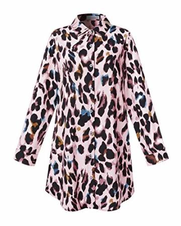 Auxo Damen V-Ausschnitt Leopard Kleider 1/2 Arm Mini Kurz Kleider Oversize Tops Hemd Rosa Small - 4