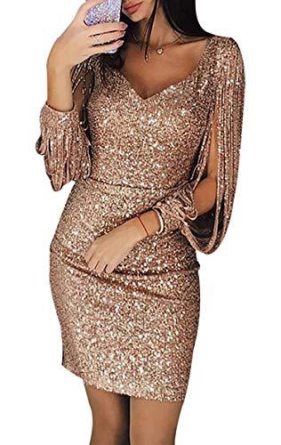 Avanon Glänzend Partykleid Damen Abendkleider Elegante Festliches Kleid Fransen Langarm V-Ausschnitt Sexy Cocktailkleid für Hochzeit Paillettenkleid (Gold, L) - 4