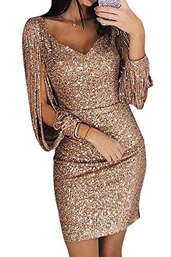 Avanon Glänzend Partykleid Damen Abendkleider Elegante Festliches Kleid Fransen Langarm V-Ausschnitt Sexy Cocktailkleid für Hochzeit Paillettenkleid (Gold, L) - 1