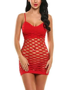 Avidlove Lingerie Dessous Frauen Mesh Sexy Hollow Out Negligee Babydoll Wäsche Netzs Flexibel Free Size Mini Silm Kleid, A.Rot, Einheitsgröße - 1