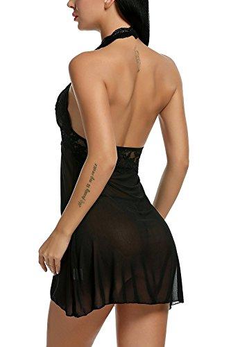 Avidlove Negligee Damen Nachtwäsche Nachtkleid Nachthemd Spitze Lingerie Dessous Reizwäsche Set Sleepwear Kleid, A-schwarz, L - 6