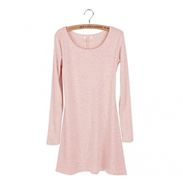 Ayliss® Frau Tunika Longshirt Damen Minikleid Longshirt Herbst Kleid Tops Pullover (Rosa) - 2