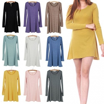 Ayliss® Frau Tunika Longshirt Damen Minikleid Longshirt Herbst Kleid Tops Pullover (Rosa) - 4