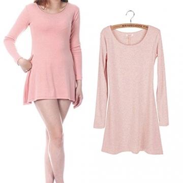 Ayliss® Frau Tunika Longshirt Damen Minikleid Longshirt Herbst Kleid Tops Pullover (Rosa) - 1