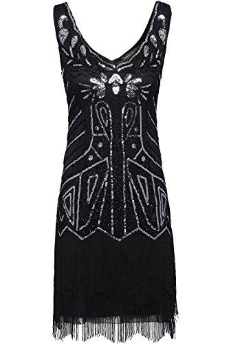 BABEYOND Damen Kleid Retro 1920er Stil Flapper Kleider mit Zwei Schichten Troddel V Ausschnitt Great Gatsby Motto Party Kleider Damen Kostüm Kleid (Schwarz, XXL) - 2