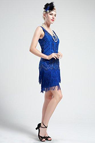 BABEYOND Damen Kleid Retro 1920er Stil Flapper Kleider mit Zwei Schichten Troddel V Ausschnitt Great Gatsby Motto Party Kleider Damen Kostüm Kleid Blau - 4