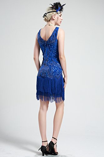 BABEYOND Damen Kleid Retro 1920er Stil Flapper Kleider mit Zwei Schichten Troddel V Ausschnitt Great Gatsby Motto Party Kleider Damen Kostüm Kleid Blau - 5