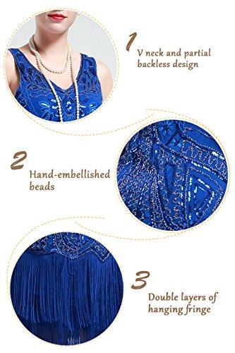 BABEYOND Damen Kleid Retro 1920er Stil Flapper Kleider mit Zwei Schichten Troddel V Ausschnitt Great Gatsby Motto Party Kleider Damen Kostüm Kleid Blau - 6