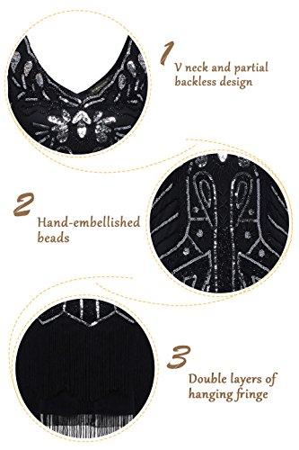 BABEYOND Damen Kleid Retro 1920er Stil Flapper Kleider mit Zwei Schichten Troddel V Ausschnitt Great Gatsby Motto Party Kleider Damen Kostüm Kleid (Schwarz, XXL) - 3