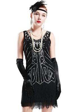 BABEYOND Damen Kleid Retro 1920er Stil Flapper Kleider mit Zwei Schichten Troddel V Ausschnitt Great Gatsby Motto Party Kleider Damen Kostüm Kleid (Schwarz, XXL) - 1