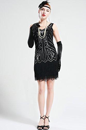 BABEYOND Damen Kleid Retro 1920er Stil Flapper Kleider mit Zwei Schichten Troddel V Ausschnitt Great Gatsby Motto Party Kleider Damen Kostüm Kleid (Schwarz, XXL) - 4
