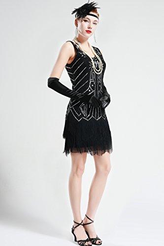 BABEYOND Damen Kleid Retro 1920er Stil Flapper Kleider mit Zwei Schichten Troddel V Ausschnitt Great Gatsby Motto Party Kleider Damen Kostüm Kleid (Schwarz, XXL) - 5