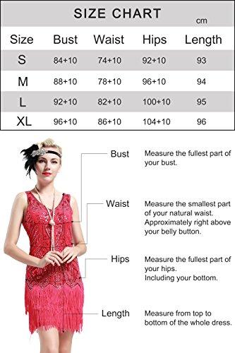 BABEYOND Damen Kleid Retro 1920er Stil Flapper Kleider mit Zwei Schichten Troddel V Ausschnitt Great Gatsby Motto Party Kleider Damen Kostüm Kleid (Schwarz, XXL) - 7