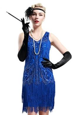 BABEYOND Damen Kleid Retro 1920er Stil Flapper Kleider mit Zwei Schichten Troddel V Ausschnitt Great Gatsby Motto Party Kleider Damen Kostüm Kleid Blau - 1