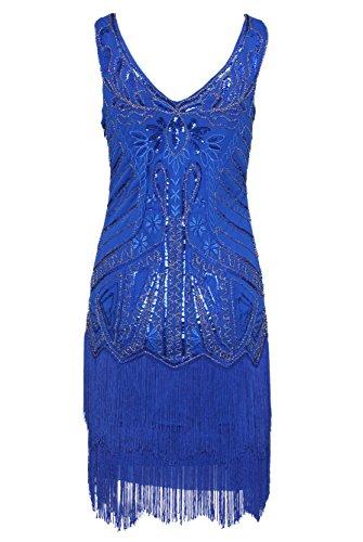 BABEYOND Damen Kleid Retro 1920er Stil Flapper Kleider mit Zwei Schichten Troddel V Ausschnitt Great Gatsby Motto Party Kleider Damen Kostüm Kleid Blau - 2