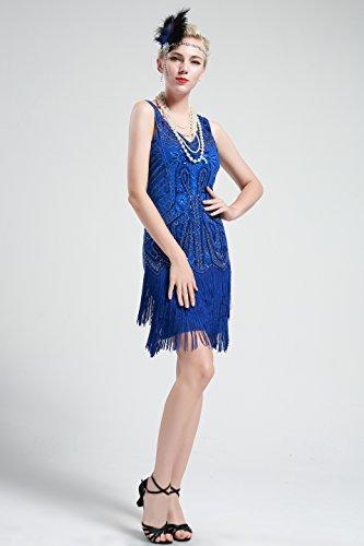 BABEYOND Damen Kleid Retro 1920er Stil Flapper Kleider mit Zwei Schichten Troddel V Ausschnitt Great Gatsby Motto Party Kleider Damen Kostüm Kleid Blau - 3