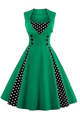 Babyonline d.r.e.s.s Damen 50 60er Ärmellos Swing Abendkleid Polka Dots Grün XL -