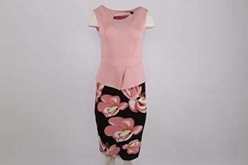 Babyonline Damen Vintage-Ausschnitt Sommer Kleid Halbe Ärmel Kontrast Blumenabend Pencilkleid Dunkelblau 2XL - 2