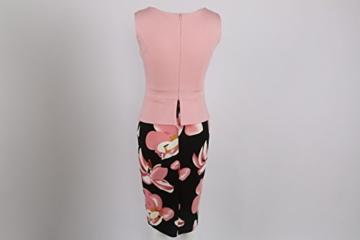 Babyonline Damen Vintage-Ausschnitt Sommer Kleid Halbe Ärmel Kontrast Blumenabend Pencilkleid Dunkelblau 2XL - 3