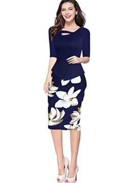 Babyonline Damen Vintage-Ausschnitt Sommer Kleid Halbe Ärmel Kontrast Blumenabend Pencilkleid Dunkelblau 2XL - 1