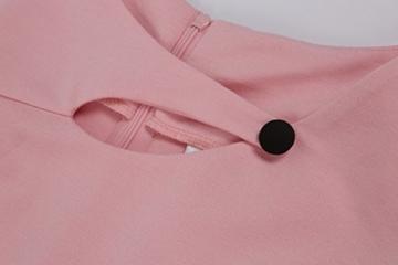 Babyonline Damen Vintage-Ausschnitt Sommer Kleid Halbe Ärmel Kontrast Blumenabend Pencilkleid Dunkelblau 2XL - 5