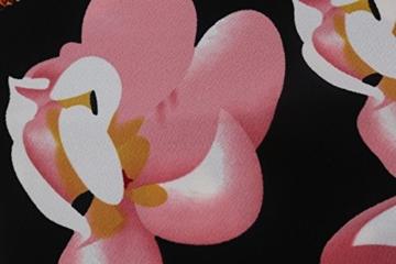 Babyonline Damen Vintage-Ausschnitt Sommer Kleid Halbe Ärmel Kontrast Blumenabend Pencilkleid Dunkelblau 2XL - 6