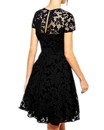 Babyonline Kleid Spitze Sommerkleider Damen Kurz Spitzenkleid Minikleid Festliches Partykleid Cocktailkleid Brautjungfernkleid Schwarz 2XL - 2